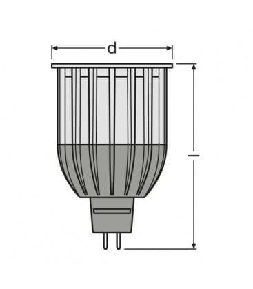 LED Parathom PRO ADV 50 12W WW 827 12V MR16 36D Gradable