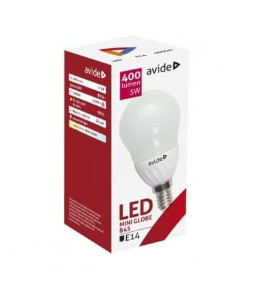 LED Mini Globe B45 5W 220-240V WW E14