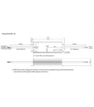 HLG-40H-24A, 24V / 40W / IP65