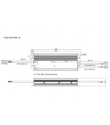 HLG-320H-12B, 12V / 264W / IP67