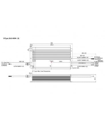 HLG-600H-12B, 12V / 480W / IP67