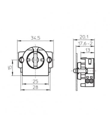 Lampenhalter Fassung G13 Rotoclic-Einbaufassung 59106