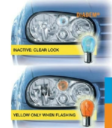 Diadem Chrome 7507DC PY21W 12V Looks white, shine yellow - Double pack