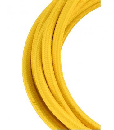 Câble textile 2C Jaune 3m 139677 8714681396773
