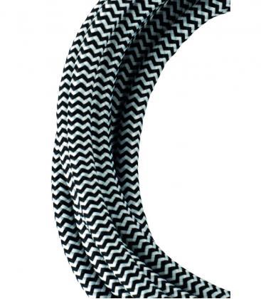 Textilkabel 2C Schwarz/Weiß 3m 139685 8714681396858