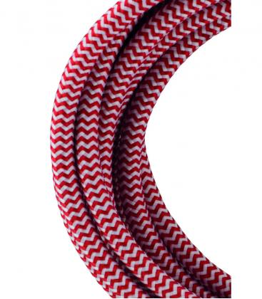 Tekstilni kabel 2C Rdeča/Bela 3m 139686 8714681396865