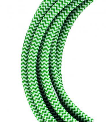 Cavo tessile 2C Verde/Bianca 3m 139687 8714681396872