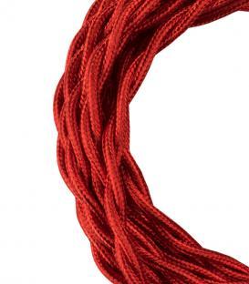 Plus de Câble textile Twisted 2C Rouge métallique 3m