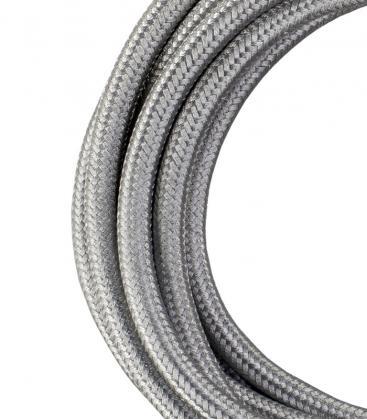 Câble textile 2C Argent métallique 3m 140312 8714681403129