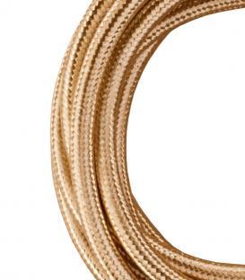 Plus de Câble textile 2C Champagne métallique 3m