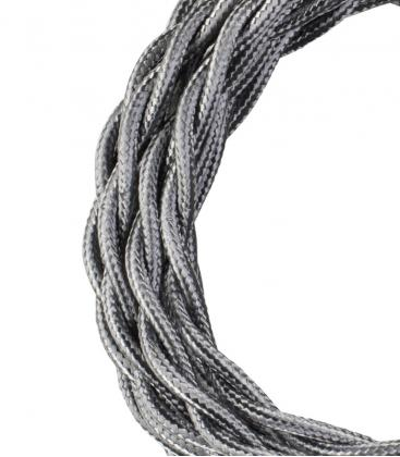 Textile Cable Twisted 2C Metallic Silver 3m 140315 8714681403150