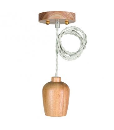 Wooden Pendant Set E27 + 1.5m Twisted Textile Cable Beige 139712 8714681397121