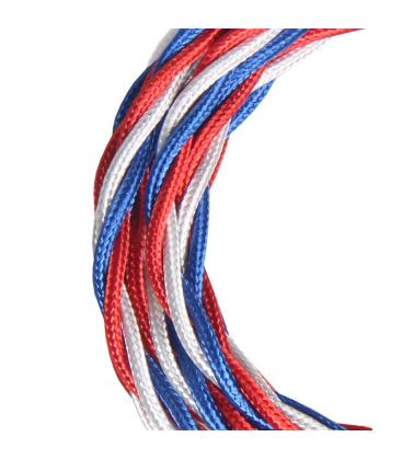 Textile Cable Twisted 3c Shiny Blue/White/Red 3m 141099 8714681410998