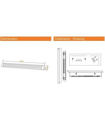 LED cabinet luce 12V 5W WW 500mm trapezio
