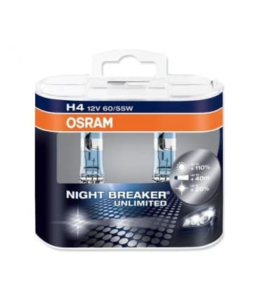 H4 12V 60/55W 64193 NBU Night Breaker Unlimited Double pack 64193-NBU-DUO 4052899017214